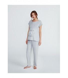 Pijama maternal con clips para lactancia