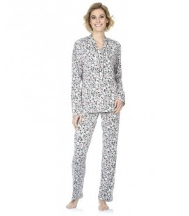 Pijama mujer manga larga estampado flores