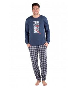 Pijama hombre manga larga de algodón