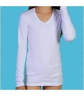 Camiseta felpa de niña manga larga 100% algodón