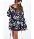 Camisón mujer de satén con flores en negro