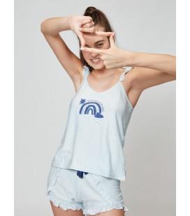 Pijama corto con camiseta estampada rayas